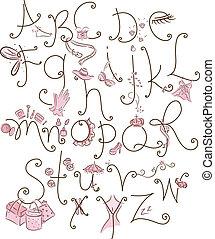 alfabeto, girly