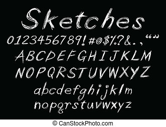 alfabeto, giz, esboço