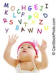 alfabeto, gracioso, palabras