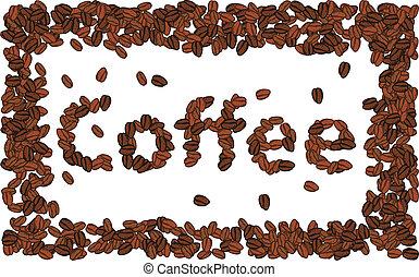 alfabeto, grano de café