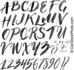 alfabeto, hechaa mano