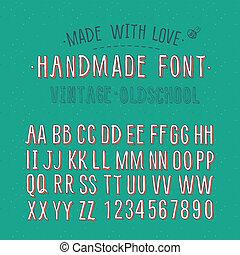 alfabeto, hechaa mano, retro
