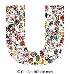 alfabeto, hecho, de, cartas
