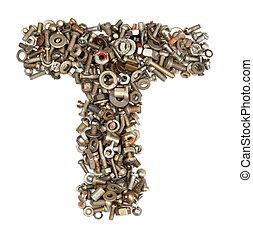 alfabeto, hecho, de, pernos, -, el, carta, t