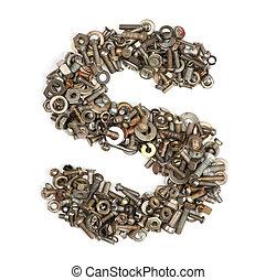 alfabeto, hecho, de, pernos, -, el s de carta