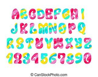 alfabeto, hippie, vendimia, colorido, white., fuente, psicodélico, pattern.