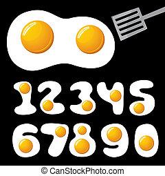 alfabeto, huevos