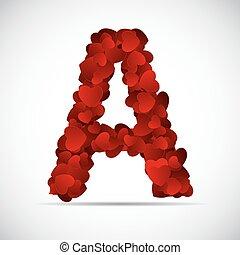alfabeto, ilustração, valentine, vetorial, corações, dia