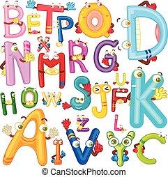 alfabeto, inglés, caras