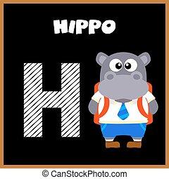 alfabeto, inglês, carta h