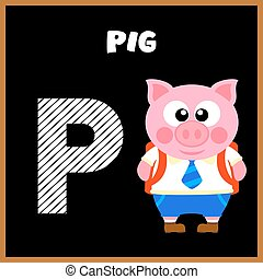 alfabeto, inglês, carta p