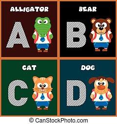 alfabeto, inglês, carta um