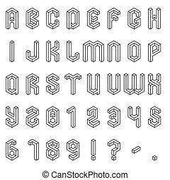 alfabeto, isométrico, números