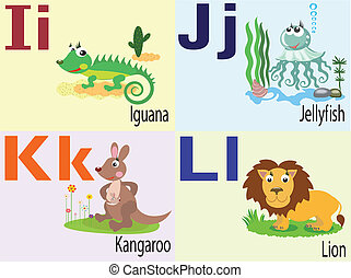 alfabeto, j, i, animal