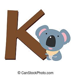 alfabeto, k, animal