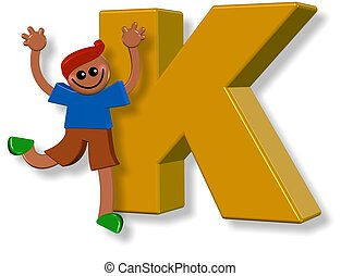 alfabeto, k, niño