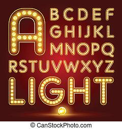 alfabeto, lámpara, conjunto, realista