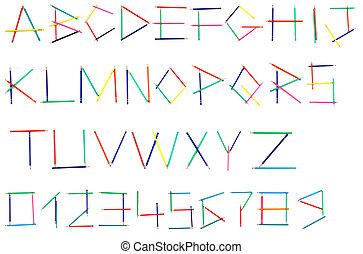 alfabeto, lápis coloridos