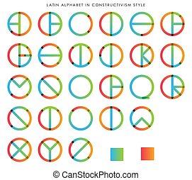 alfabeto, latín, constructivism