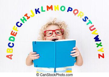 alfabeto, lectura, cartas, aprendizaje, niño