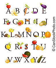 alfabeto, legumes, frutas