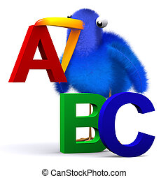 alfabeto, letras, bluebird, 3d