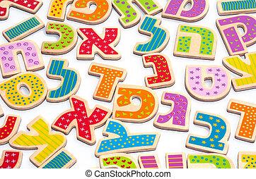 alfabeto, letras, hebreu
