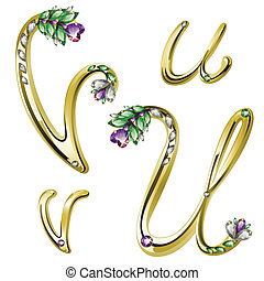 alfabeto, letras, jóia, ouro, u
