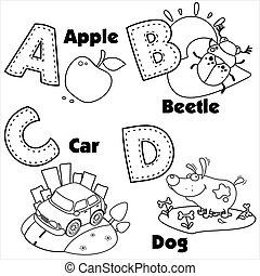 alfabeto, letras, um, inglês