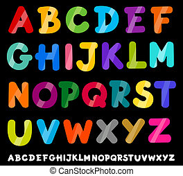 alfabeto, lettere, cartone animato, illustrazione, capitale