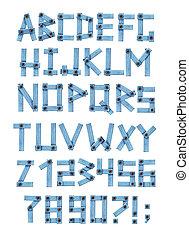 alfabeto, -, lettere, da, uno, jeans, tessuto