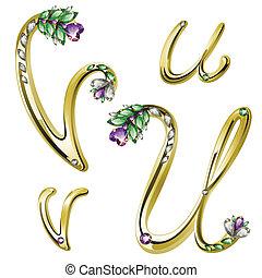 alfabeto, lettere, gioielleria, oro, u
