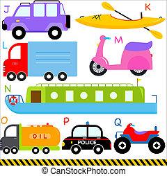 alfabeto, lettere, j-q, automobile, veicoli, trasporto