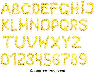 alfabeto, limão