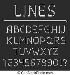 alfabeto, linha, retro, números