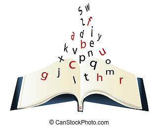 alfabeto, livro, -