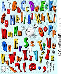 alfabeto, livro cômico