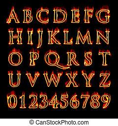 alfabeto, llameante, números