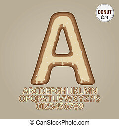alfabeto, llanura, dígito, vector, rosquilla