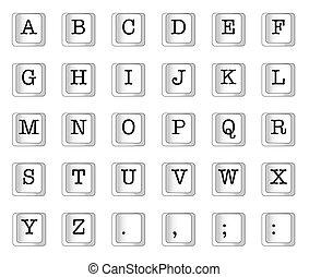 alfabeto, llave computadora