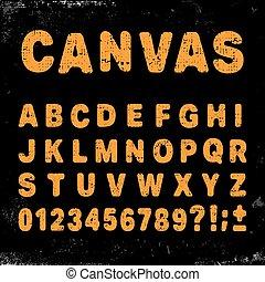 alfabeto, lona, fonte