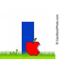 alfabeto, lontano, mela, mangiato, giorno
