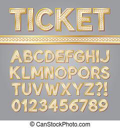 alfabeto, luminoso, broadway, dourado