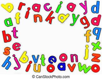 alfabeto, magnetico, lettere
