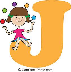 alfabeto, menina, j