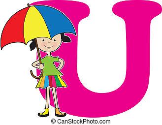 alfabeto, menina, u