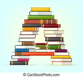 alfabeto, multi, libri, colorato, accatastare