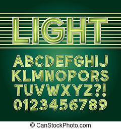 alfabeto, néon, luz verde