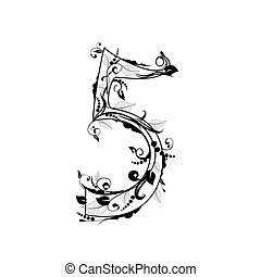 alfabeto, número, follaje