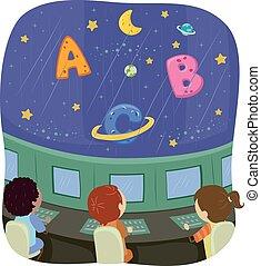alfabeto, nave, bambini, stickman, spazio